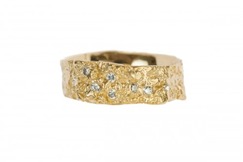 Gold lichen and diamond ring.