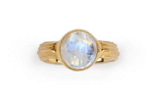 Cowparsley stem and rainbow moonstone ring