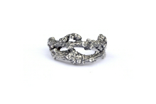 Chunky Twig Ring, silver