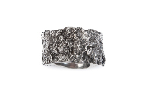 Bark and Lichen Ring, silver.