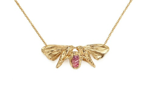 Moth pendant with uncut ruby and diamonds.