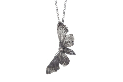 Midnight hawk moth necklace.