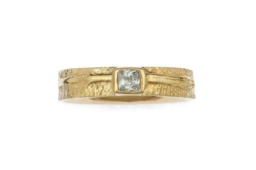 Leaf band with princess cut diamond.