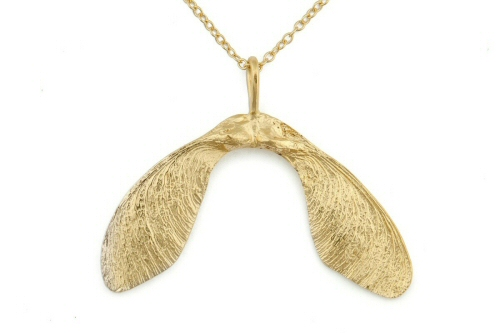 Gold sycamore pendant, large double.