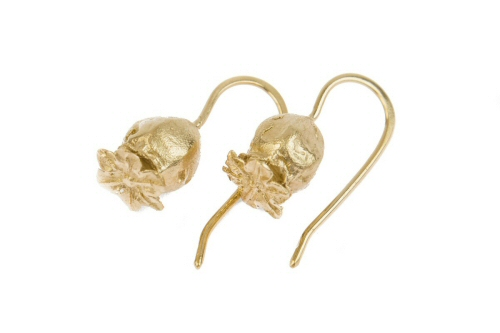 Gold poppy seed head earrings, medium.