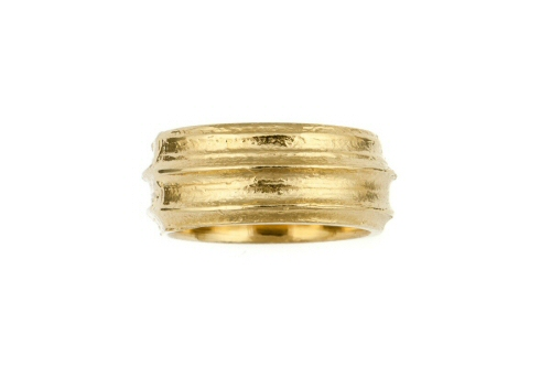 Lined Cow parsley stem ring, wide band.