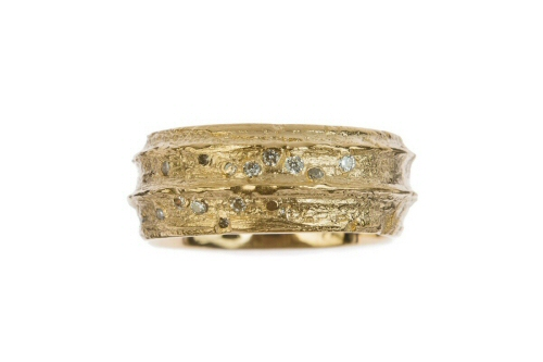 Gold cow parsley stem ring with a scattering of diamonds.