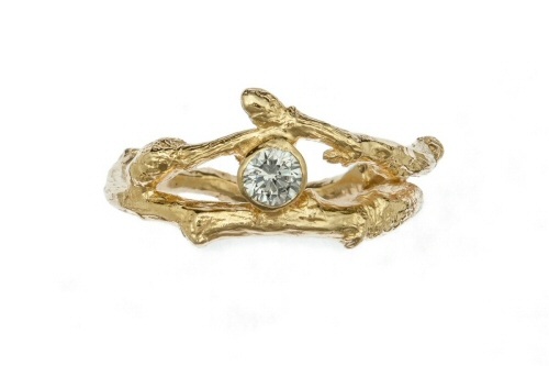 Budded twig and diamond ring.