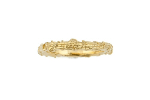 Fir tree twig ring, slim gold band.