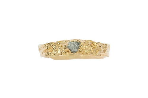 Lichen band with single uncut diamond.