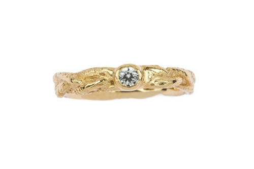 Plaited gold twig and diamond ring.