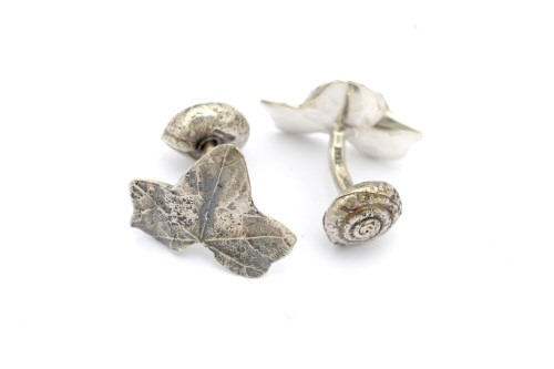 Ivy and garden snail cufflinks.